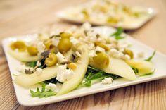 Salade van meloen, olijven en geitenkaas