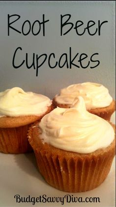1 Can of Root Beer ( Diet or Regular),    1 Box of White Cake Mix, and  Vanilla Frosting...   What To Do:    Mix the cake mix and soda together in a bowl — that is all. No need to add ANYTHING else. No Eggs. No Oil. No Water.    Follow the instructions on the box for baking instructions — Just remember to place the batter in cupcake cups