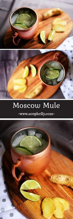 Moscow mules consist of ginger beer, limes, vodka and served in a copper mug. Copper Moscow Mule Mugs, Copper Mugs, Ginger Beer, Drink Recipes, Cucumber, Lime, Ethnic Recipes, Easy, Food