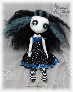 Gothic art doll with button eyes Danica Brightsky by Strange Little Girls
