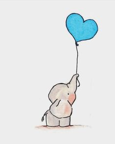 ▷ 1001 + easy ideas to make a cute kawaii drawing for beginners - easy drawing of a dumbo elephant with blue heart shaped balloon, gray animal - Easy Pencil Drawings, Easy Disney Drawings, Easy Doodles Drawings, Easy Doodle Art, Cute Easy Drawings, Simple Doodles, Cool Art Drawings, Drawing Sketches, Drawing Ideas