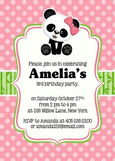 Invite Panda Birthday Party, Panda Party, Bear Birthday, 3rd Birthday Parties, Birthday Party Invitations, Pink Panda, Panda Love, Ep1 Cap Petite Enfance, Invitation Fete