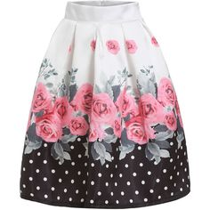 SheIn(sheinside) White Black Floral Polka Dot Flare Skirt ($24) ❤ liked on Polyvore featuring skirts, bottoms, multi, flared skater skirt, flared skirt, knee length circle skirt, flare skirt and knee length flared skirts