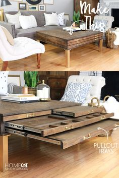 DIY Coffee Table With Pullouts | Make a coffee table perfect for storage, as a gaming tabletop, as TV trays for serving, for puzzle storage, etc.