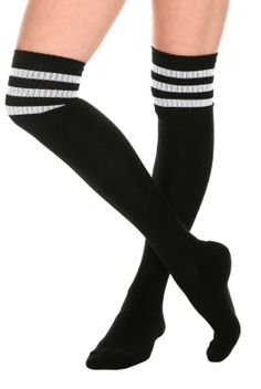Black And White Cushioned Knee-High Crew Socks I love knee highs but never have the chance to wear them because for some reason society has deemed knee high socks to be racy....