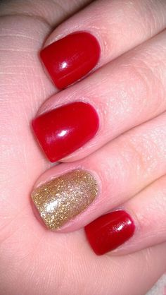 Red, and gold nails