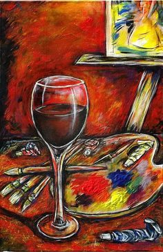 ARTFINDER: Wine & paint  by DASMANG    (Gary Aitken ) - A wonderful glass of red , some jazz and paint . Heaven on earth for me .