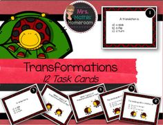 This is a set of 12 task cards on transformational geometry. Students have to identify reflections, translations and rotations in a variety of questions. Included in this set are 12 cards, recording sheet and answer key. Fractions, Recording Sheets, My Teacher, Task Cards, Geometry, Reflection, This Or That Questions, Store, Voici