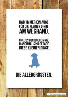 Wanddeko - Druck/Wandbild/Print: Lebenskluges von deinem Hund - ein Designerstück von DiePersoenlicheNote bei DaWanda