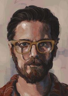 """Self-Portrait"" - Roz Hall, painted on the iPad with Procreate {figurative art male head eyeglasses bearded man face digital painting}"