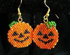 Halloween Jack-O-Lantern cuelgan cuentas pendientes, puntada del ladrillo, Delica granos envío gratis