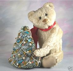 Vintage Ted with Christmas tree