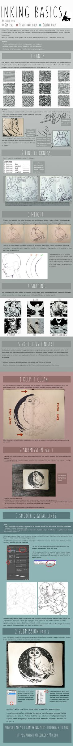 Inking Tutorial by Picolo-kun drawing illustration cartoon comic book manga anime resource tool how to tutorial instructions Drawing Lessons, Drawing Techniques, Art Lessons, Poses References, You Draw, Art Studies, Copics, Chiaroscuro, Ink Art