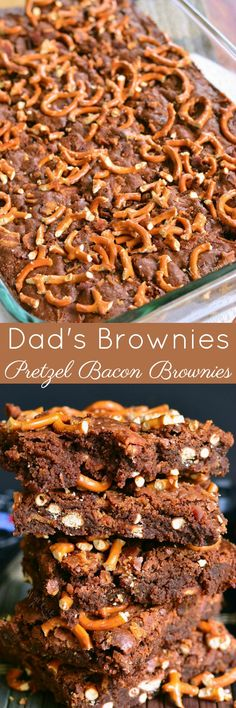 Soft, moist, sweet, and salty bacon brownies! These gooey brownies are loaded with crispy bacon and crunchy pretzel bits. Salted Caramel Chocolate Cake, Chocolate Desserts, Chocolate Chip Cookies, Chocolate Lovers, Brownie Recipes, Cookie Recipes, Dessert Recipes, Cupcake Recipes, Bacon Brownies