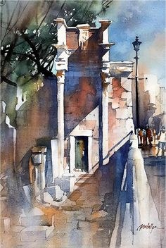 Angled Light - Italy. Thomas W Schaller - Watercolor. 22x15 Inches - 21 March 2017.