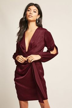Forever 21 is the authority on fashion & the go-to retailer for the latest trends, styles & the hottest deals. Shop dresses, tops, tees, leggings & more! Shop Forever, Forever 21, Burgundy Bridesmaid, Latest Trends, Wrap Dress, Cold Shoulder Dress, Satin, Best Deals, Tees