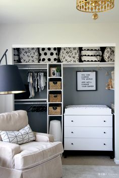 room diy closet Sophisticated Neutral Nursery Reveal - Spring 2018 One Room Challenge - A Sweet amp; Sophisticated Room for Baby - This is our Bliss Baby Room Boy, Baby Room Closet, Baby Bedroom, Baby Room Decor, Nursery Room, Crib In Closet, Dresser In Closet, Girl Room, Baby Room Ideas For Boys