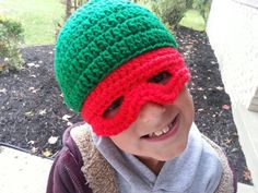 Check out this item in my Etsy shop https://www.etsy.com/listing/206054886/ninja-turtle-hat-hand-crocheted-made-to