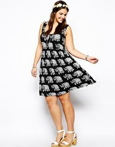 Image 4 ofASOS CURVE Button Front Dress In Elephant Print