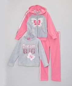 Another great find on #zulily! Gray & Pink Butterfly Hoodie Set - Toddler & Girls #zulilyfinds