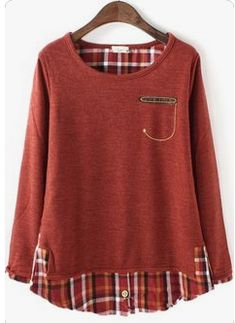 Combination of plaid shirt and pullover sewing clothes, diy clothes, refashioned clothes, flannel Diy Clothing, Sewing Clothes, Vetements Clothing, Diy Kleidung, Altered Couture, Diy Fashion, Fashion Bags, Refashioning, Sweaters