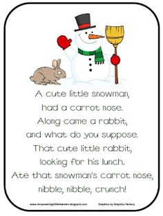 "Poem, ""A Cute Little Snowman Had a Carrot Nose"" (free) from Pre-Kinders Karen Cox"