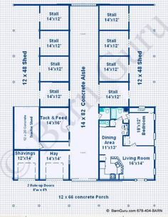 You're practically living in the barn! Lol 8 Stall Horse Barn With Living Quarters - Design Plan - Ga Horse Barn Builder Horse Barn Plans, Barn House Plans, Horse Barns, Horse Stalls, Cabin Plans, Horse Farm Layout, Barn Layout, Barn With Living Quarters, Barn Builders