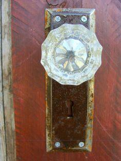 Decorative Rustic Key Rack using a glass door knob antique
