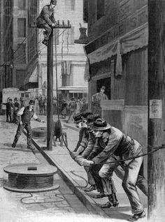 Erecting Telephone Poles