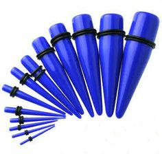 Pair Blue Taper Piercing Earring Plugs 10 Gauges 2.5mm