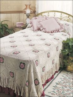 Crochet - Bedspread & Footwarmer Patterns - Rose Bower