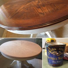 """I decided to sand down my kitchen table and restain it with General Finishes Gel Stain in Antique Walnut, the same can I used on my fiberglass front door posted a few weeks ago...then 4 coats of their Enduro topcoat. The sanding took the most time but still only a half hour...I worked on it off and on throughout the day for a total of maybe an hour. It was done by the time the kids got off the bus and we still ate dinner on it. I wish I had a pic before sanding but I just jumped in and ..."