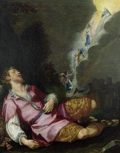 Ludovico Cardi, (1559-1613): El sueño de Jacob. Simbólicamente la escalera unia el cielo y la tierra, prefiguracion de Jesus.