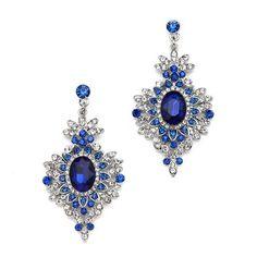 Retro Glam Royal Blue Drop Earrings