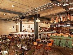 Pizza East Kentish Town/Highgate. Reclaimed Wood Floor, Urban Chic Interior Design