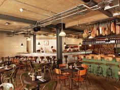 Pizza East Kentish Town/Highgate. Reclaimed Wood Floor, Urban Chic Interior Design