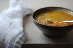 split pea soup w/ sweet potatoes and kielbasa