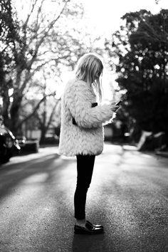 Faux fur jacket, Benah wallet, Claude Maus jeans, Alexander Wang loafers.