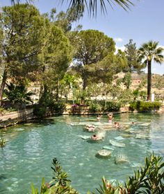 In Hierapolis, Turkey (Photo: Greg Balfour Evans / Alamy) there are hot springs where you can float amongst ancient ruins. Beautiful!
