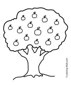 ausmalbilder apfelbaum 01 | apfel | herbst ausmalvorlagen
