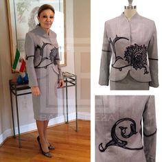 H.I.M Empress Farah Pahlavi in BAHAR & REZA Couture Wool Skirt Suit…