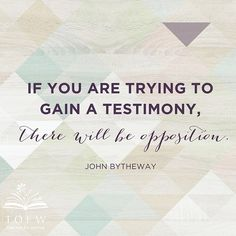 There really is opposition in all things, isn't there? And when we're trying to do something as important as gaining a testimony, it's good to remember that the resistance we might feel probably means we're doing what the Lord would have us do. Such good thoughts from John Bytheway. And so much to think about after tonight at #tofwraleigh! What was your takeaway from tonight? #tofwraleigh #oneheartonefaith #tofw #johnbytheway