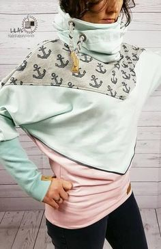 Easy to sew hoodie with cool collar - sewing pattern and sewing instructions via mak . Just sew the hoodie with cool collar - pattern and sewing instructions via Makerist. Hoodie Pattern, Collar Pattern, Sewing Clothes, Diy Clothes, Jacket Outfit, Diy Kleidung, Diy Mode, Diy Fashion, Womens Fashion