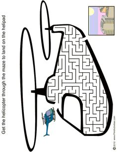 Helicopter shaped maze from PrintActivities.com