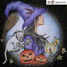 This seems to be a popular page to color right now, this halloween themed page from my coloring book Tidevarv/Seasons.This pic is colored by @akkom44 and I found it scrolling through #hannakarlzon Looks great don't you think?✨#halloween #halloweencoloring #tidevarv #seasons #witch #pumpkin #målarbok #adultcolouring