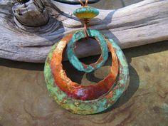 Tidepool Blue Copper Jewelry Copper Pendant Patina Copper Medallion Lampwork Bead USD) by Gasquetgirl Enamel Jewelry, Clay Jewelry, Metal Jewelry, Pendant Jewelry, Jewelry Crafts, Jewellery, Pendant Necklace, Earrings Handmade, Handmade Jewelry