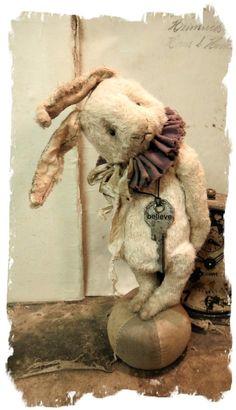 """""""BELIEVE"""" the 7"""" Vintage Style Long Flop-Ear Rabbit * By Whendi's Bears / Whendi's Bears"""