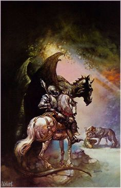 maifrem: boris vallejo - dragon and the george, 1976 Dark Fantasy Art, Fantasy Rpg, Fantasy Artwork, Boris Vallejo, Art Science Fiction, Grim Reaper Tattoo, Bell Art, Frank Frazetta, Sword And Sorcery