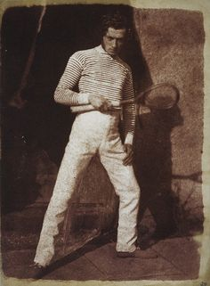 What we wore, 1843:  Tennis whites and stripes.  Photograph by of Mr Laing  by David Octavius Hill.