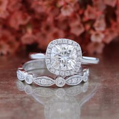 Forever One Moissanite Engagement Ring Bridal Set and Bezel Scalloped Diamond Wedding Band in 14k White Gold 7x7mm Cushion Halo Diamond Ring